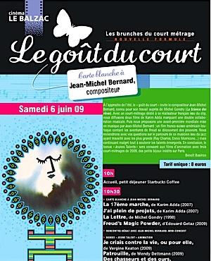 «Le Goût du court» au Balzac : Carte Blanche au compositeur Jean-Michel Bernard
